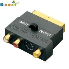 SCART Adaptor AV Block To 3 Phono Composite or S-Video With In/Out Switch GOLD Beautiful Gift JJ0121(China)