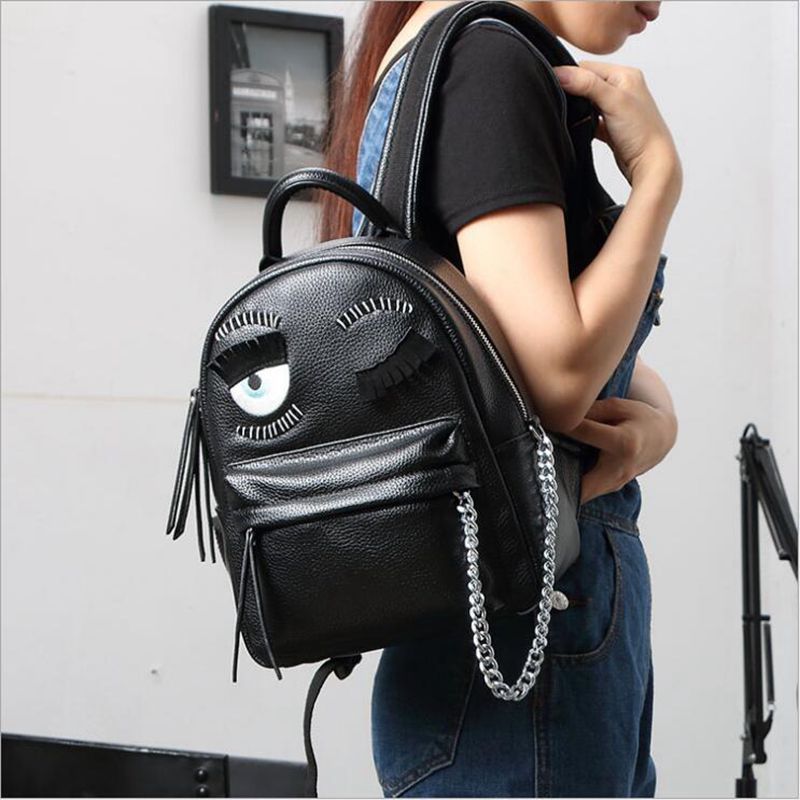 cartoon demon eyes backpack famous brand monster women leather backpacks metal chain school bag for teenagers travel backpack<br>