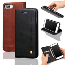 Magnet Leather Flip Phone Case For iPhone 8 8Plus 7 7plus 6 6s plus 5 5s SE Covers Fundas Coque With Card Slots Wallet Kickstand(China)
