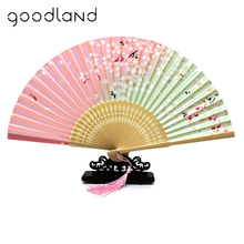 Free Shipping 1pcs Fashion Chinese Japanese Folding Fan Sakura Cherry Blossom Pocket Hand Fan Summer Art Craft Gift(China)