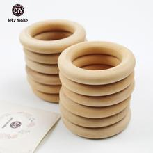 Let's Make 20pcs/lot Unfinished Teething Ring Add On 2.2 Inches Wooden Rings 56mm Natural Unfinished Wooden Teething Rings(China)