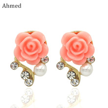 Ahmed Jewelry New Brand Design Alloy Rose Pearl Stud Earrings For Women 2017 New Accessories Wholesale(China)