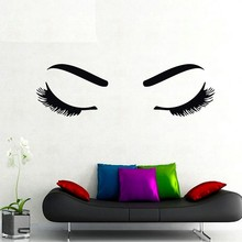 Beautiful Girl Eyelash And Eyebrow Shop Art Wall Sticker DIY 3D Home Decor Vinyl Removable Poster For Living Room Wall Decals