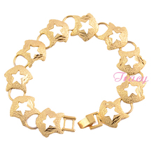 Women Lady Girls 22k Solid Gold Filled Star Bracelet Toggle Chain 17mm Width(China)