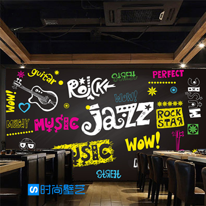 Custom 3d mural style graffiti wallpaper restaurant cafe bar school background 3D music instruments blackboard wallpaper mural<br>