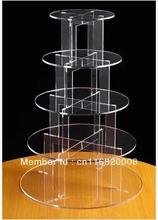 5 Tier 4mmThick Round Maypole Clear Acrylic Wedding Party Fairy Cupcake Display Stand