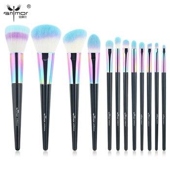 Anmor Радуга макияж кисти 12 шт. Синтетический Фонд Румяна теней для глаз Professional Make Up Brush Set CF-840