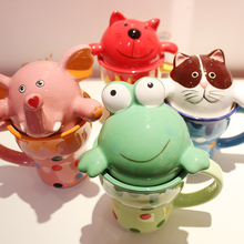 Colorful Cups Cute Animal Mug High - Capacity Ceramic Cups Couple Children Milk Mugs Present Free Shiping(China)
