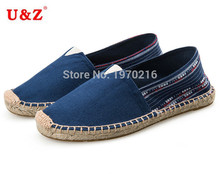 2017 Big size Flats!Brand Canvas Espadrilles Olive Green/Navy blue,National style Male/Female Cotton Casual Shoes US11 and Eu44(China)
