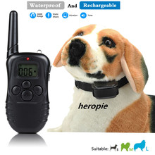 heropie 300M Remote Dog Training Collar Rechargeable & Waterproof Vibration Shock Electronic Electric 100Level Anti Bark Control(China)