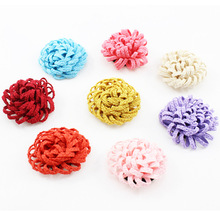 30Pcs/lot 8colors Fashion Handmade Fabric Mum Flower For DIY Hair Accessories Decoration Headband Ornaments