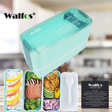 New Arrive 900ml Cute Lunch Dinnerware Box Portable 3 Layer Healthy Food Container Microwave Oven Bento Japanese(China)