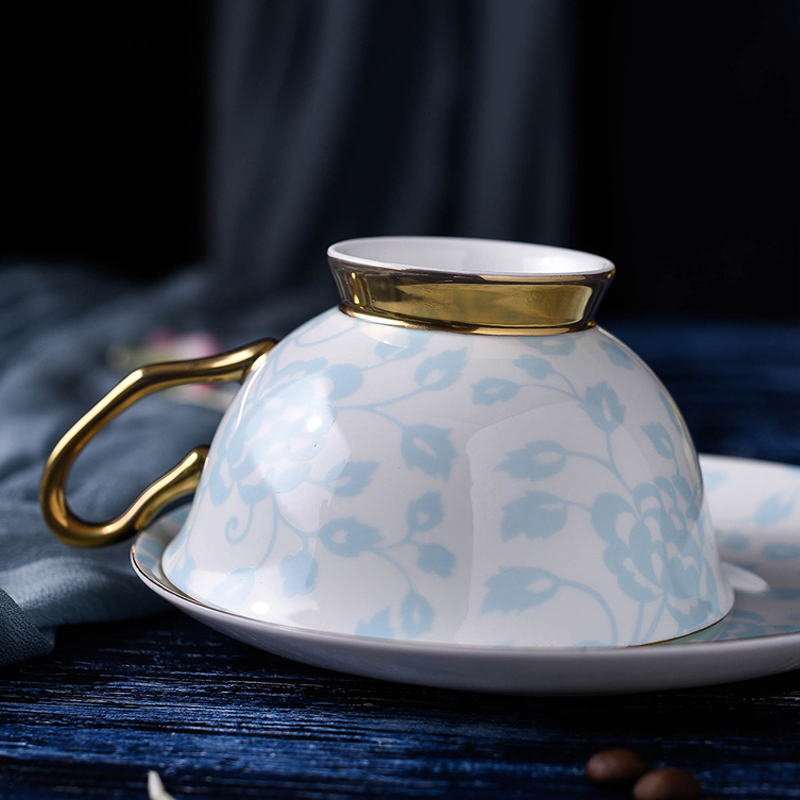 200ml Porcelain Teacups Fine Bone China Tea Cup and Saucer Set British Style Luxury Ceramic Coffee Cup Holiday Gifts 2 Colors (3)