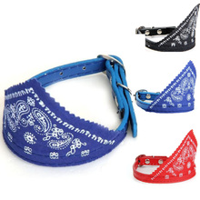 Free Shipping Hotsale 1.0cm Dog Pet Bandana Triangular Scarf Leather Collar Paisley Pattern Puppy Strap Adjustable Grooming