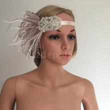 Vintage Feather Headband Wedding Headpiece Gatsby 20s Flapper Fancy Dress