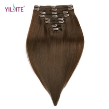 YILITE 18inch Double Drawn Remy Human Hair Clips in Hair Extensions European Clips in Human Hair Silky Straight Free shipping(China)
