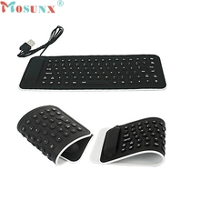 Keyboard Portable USB Mini Flexible Silicone PC Keyboard Foldable for Laptop Notebook Black 0120 Mosunx