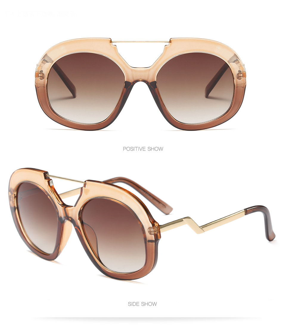New Big Frame Sunglasses Women Brand Designer Round Goggle Sun Glasses Ladies Luxury Pink Shades Gradient Eyeglasses