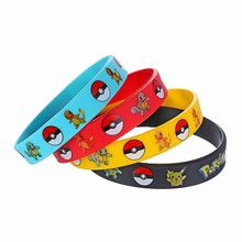 4pcs 4 Colors Pokemon Party Supplies Silicone Bracelet Go Pikachu Pokemon Birthday Party Decoration Bangles Kid Children Toy