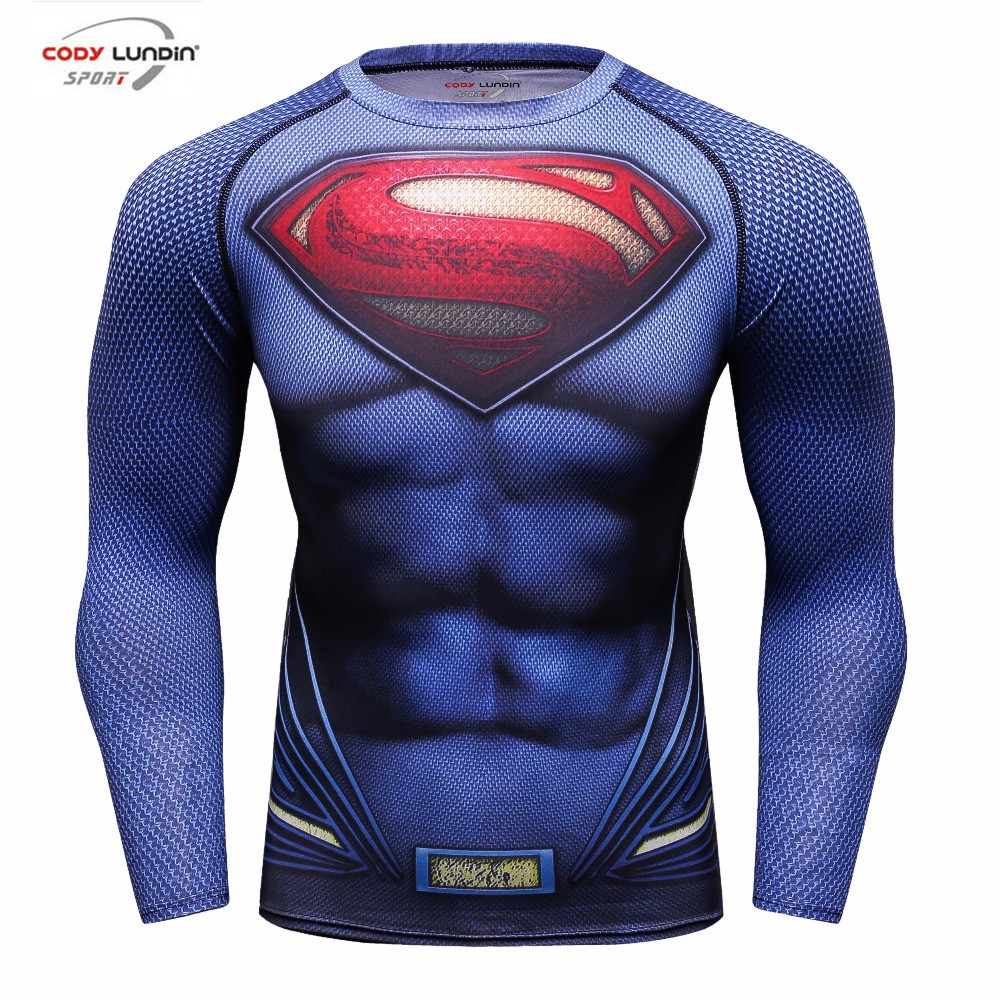 Compression Shirt Batman VS Superman 3D Printed T-Shirts Men's Long Sleeve Cosplay Costume Fit Apparel Fitness Tops Male