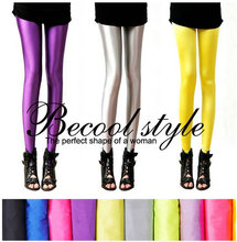 Fluorescent Color Leggings Pants Women's Ice Silk Spandex Elastic Leggings Multicolor Shiny Glossy dance Leggings Trousers