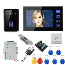 "Cheap 7"" Wired Color Video Door Phone Intercom System+Electronic Door Lock+Exit Button+Electric Strike Lock+Remote Controller"