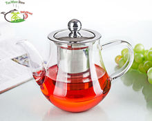 1x Pot JX - Big 23.7fl.oz 700ml Heat-Resisting Clear Glass Flower Teapot Coffee Water Tea Pot with Stainless Steel Infuser Lid