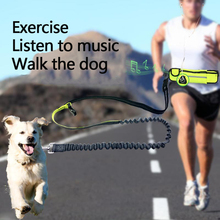 BIN BANG Dog Leash Reflective Elastic Hand Free For Jogging Walking Training Dog Leashes And Self Running Waist Adjustable Bags(China)