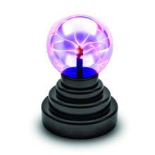 ScienceGeek USB Or Batteries Powered Touch And Sound Light Activation Magic Plasma Ball Novelty Toy Black base Home Decoration