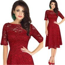Buy Women Elegant Sexy Lace See Tunic One Piece Dress Suit Club Bridesmaid Mother Bride Dress Skater A-Line Party Dress for $18.93 in AliExpress store
