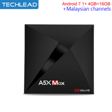 A5X MAX Android 7.1 TV Box 4GB RAM 16GB ROM With Myiptv Malaysian TV Package Indonesian Chs Channels VOD Singapore Program IPTV(China)