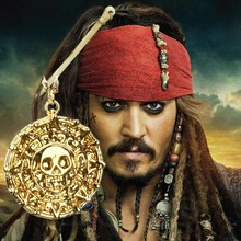 Hot Fashion Pirates Of The Caribbean Gold Coin Medal JACK SPARROW AZTE Elizabeth Necklace(China)