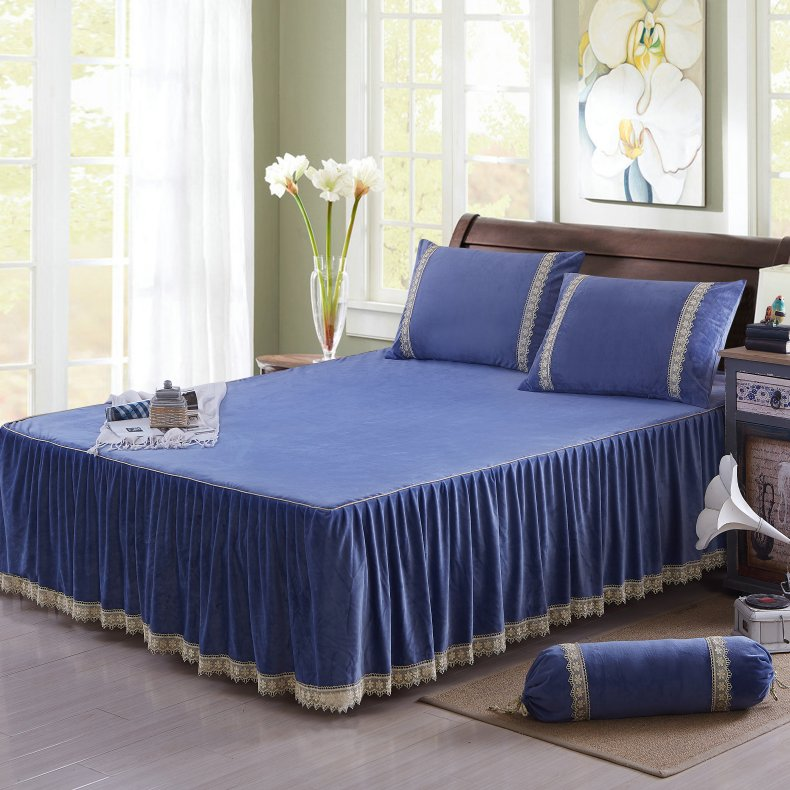 3Pcs Fleece Bed Skirt Set W/ Pillowcases, Mattress Protective Cover 41