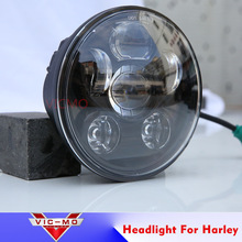 "Harley Motorcycle Led High Low Beam Bicycle 5-3/4"" 5.75"" Round Black/Chrome Led Head light Lamp For Harley Sportster iron 883"