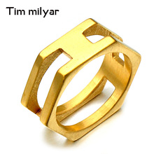Classics Stainless Steel Jewelry Timmilyar Brand Ring Punk Finger Love Ring Gold Color Square Shape Ring For Men And Women