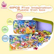 UCanaan 60 pcs/set Wooden Puzzle Cartoon Toy 3D Wood Puzzle Iron Box Package Jigsaw Puzzle for Child Educational Montessori Wood