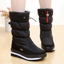 Women's Boots 2017 New Non-slip Waterproof platform Snow boots Mid-calf White Women Winter Shoes high quality Botas mujer