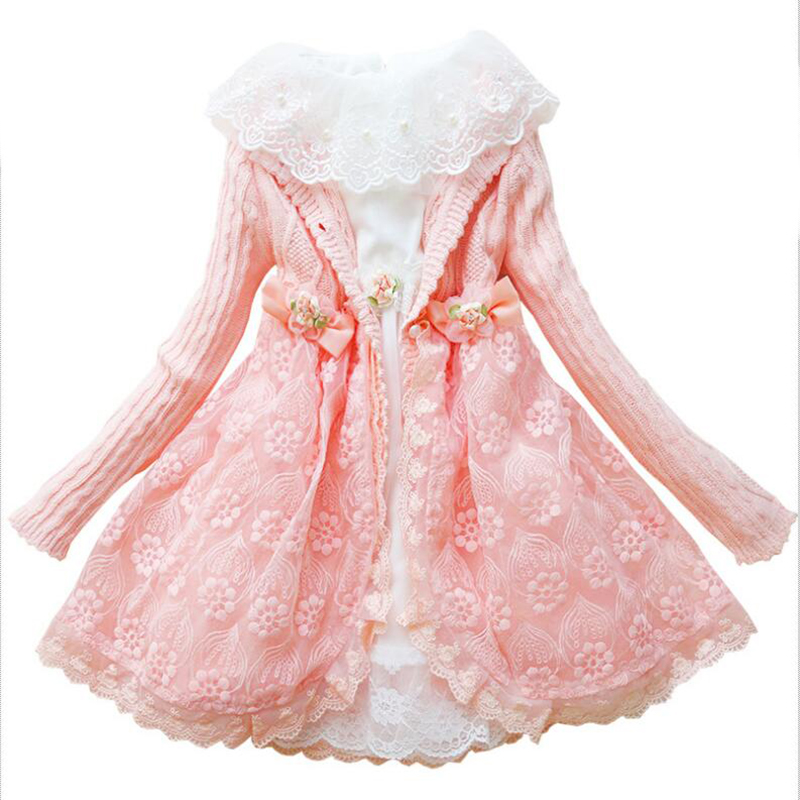Girls Princess Dress Set Children Knitted Coat+Lace Petticoat Fille Floral Hand-beaded 2 Pcs Clothing for Party High Quality<br>