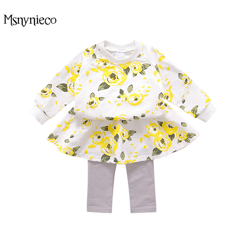 Infant Costume Outfit Baby Girls Suits Newborn Cotton Flower Girl Top+Pants Kids 2pcs Suit Sets for 0-2 Years Toddler Clothes<br>