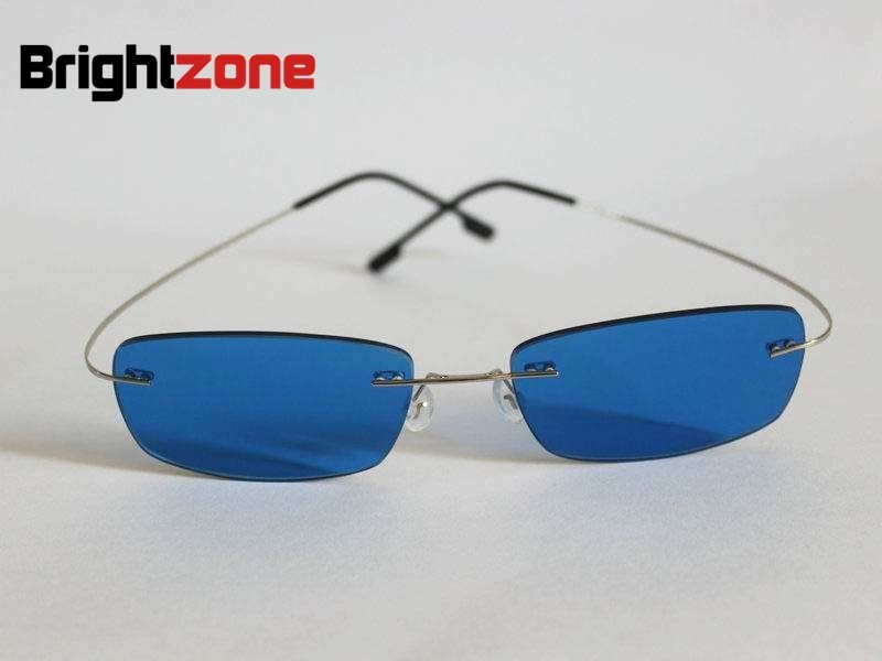 ^6^ Brightzone Rimless Memory Titanium Silver Blue Color Tinted Prescription Sunglasses for Myopia & Presbyopia Free Shipping