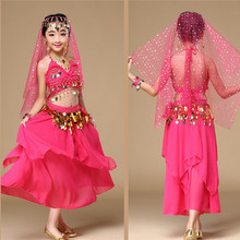kids India Dancing Dress 2pcs Girls Belly Dance Costume Bollywood Dance Costumes For Child Ballroom Performance Clothes
