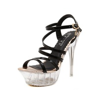G-SPARROW Sexy Transparent Glass Slipper 14cm Super High Heels Platform Cheap Shoes China Sandals 2017 Summer Style