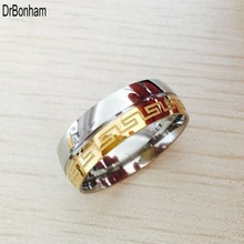Besteel Mens Stainless Steel Band Ring Engraved Greek Key Vintage Wedding 8mm gold silver filled Size 6-14(China)
