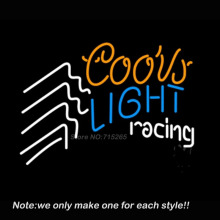Coors Light Racing Beer Neon Light Signs Glass Tube Neon Bulb Beer Bar Pub Recreation Room Garage Neon Signs Store Display 17x14(China)