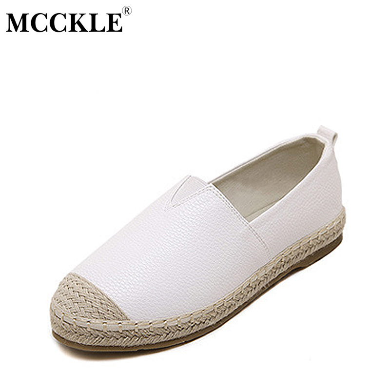 MCCKLE Women Slip-On Casual  Loafers Shoes Female Shallow Solid Straw Flats Woman Comfortable Breathable Casual Oversized Shoes<br>