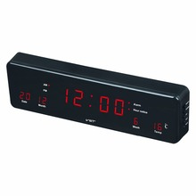 led calendar wall clock with EU plug Multi - function digital led clock with alarm Home Desktop temp clock Hanging glowing Clock