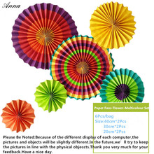 6pcs/lot Colorful Cheap Paper Fans For Wedding Tissue Paper Fans Flowers Birthday Party Holiday Supplies Wedding Favors