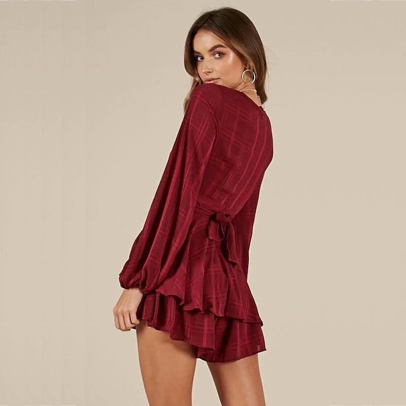yinlinhe Plaid Short Jumpsuit Women Long Sleeve V neck Sexy Red Playsuit Summer Bow Slim Waist Elegant Ruffles Rompers 7
