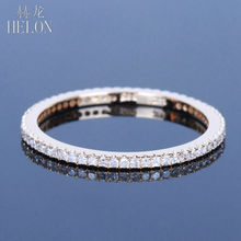 HELON Full Eternity Band For Women's Jewelry Ring Solid 10K Yellow Gold Pave Natural Diamonds Engagement Wedding Exquisite Ring