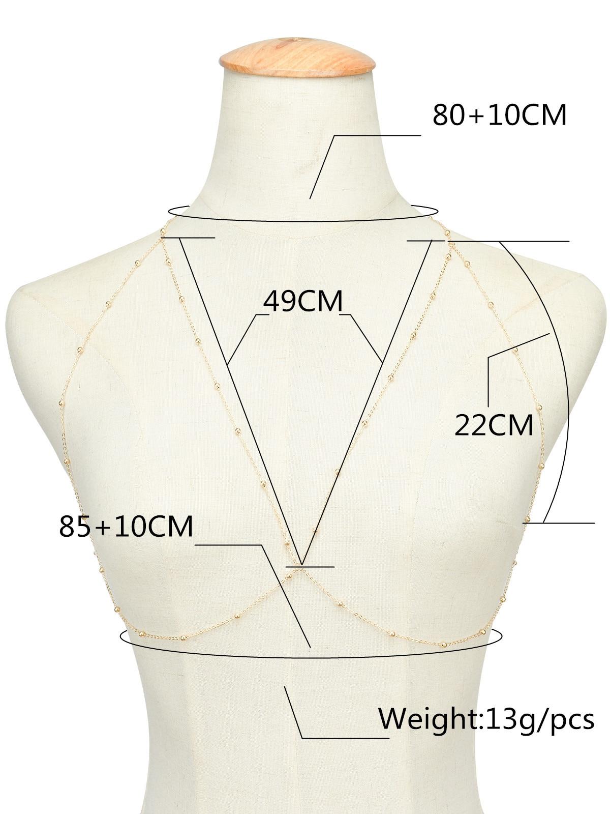 Fashion Body Chain women bohemia rhinestone Sexy gold Beach Bikini Harness for bra Bralette chain Straps accessories 1